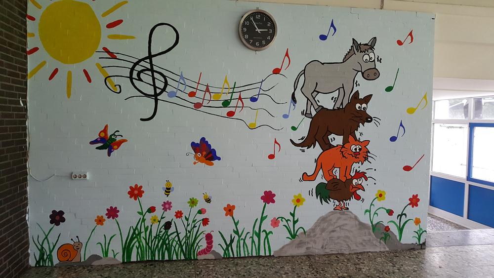 Wand am Musikraum