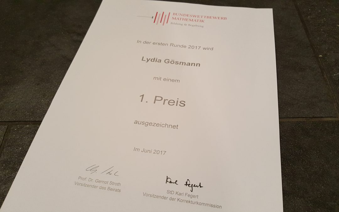 1. Preis beim Bundeswettbewerb Mathematik für Lydia Gösmann