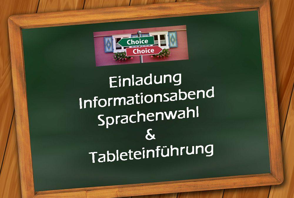 Einladung Informationsabend Sprachenwahl und Tableteinführung