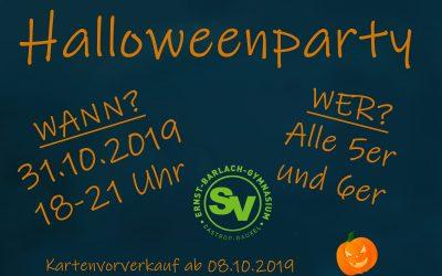 Einladung zur Halloweenparty für die 5er und 6er