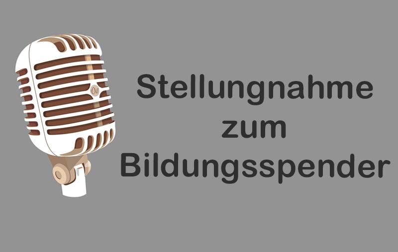 """Stellungnahme des Fördervereins und der Schulpflegschaftsvorsitzenden zum heutigen Zeitungsartikel zum Thema """"Bildungsspender""""."""