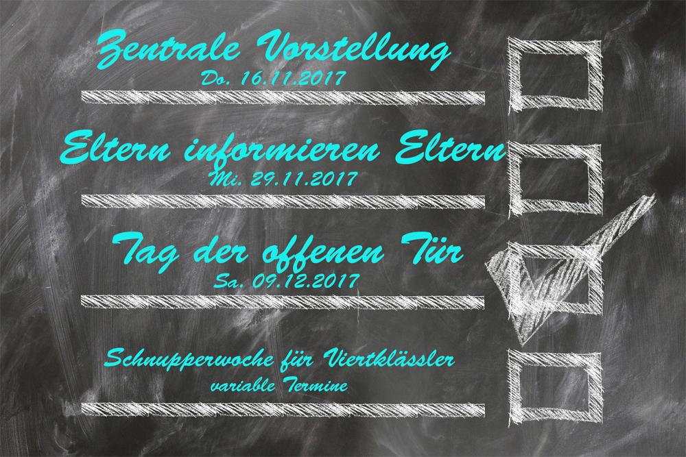 Informationsveranstaltungen für die Viertklässler!